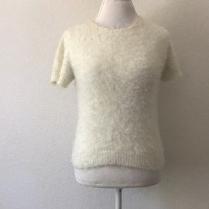 Forever 21 fuzzy sweater short sleeve top white